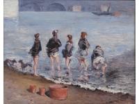 Meisjes in het water van de Seine