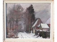 Besneeuwd bospad in de omgeving van Rouan