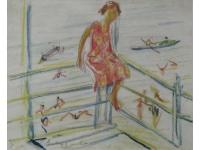 """z-  """"Meisje op leuning aan de zee bij Capri"""""""