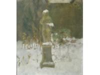 Tuinbeeld te Halfweg in de sneeuw