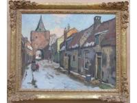 Wandelaars in besneeuwd straatje in Harderwijk? Elburg?