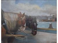 z- Paarden op de kade te Rotterdam