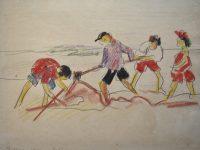 z- Spelende kinderen op strand van Scheveningen 1924