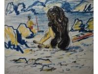 Z-     Meisje in badpak op het strand