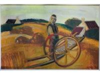 Belgische boer op het land.